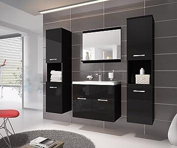 Badezimmermöbel schwarz  Badezimmer Badmöbel Montreal XL 60 cm Waschbecken Schwarz ...