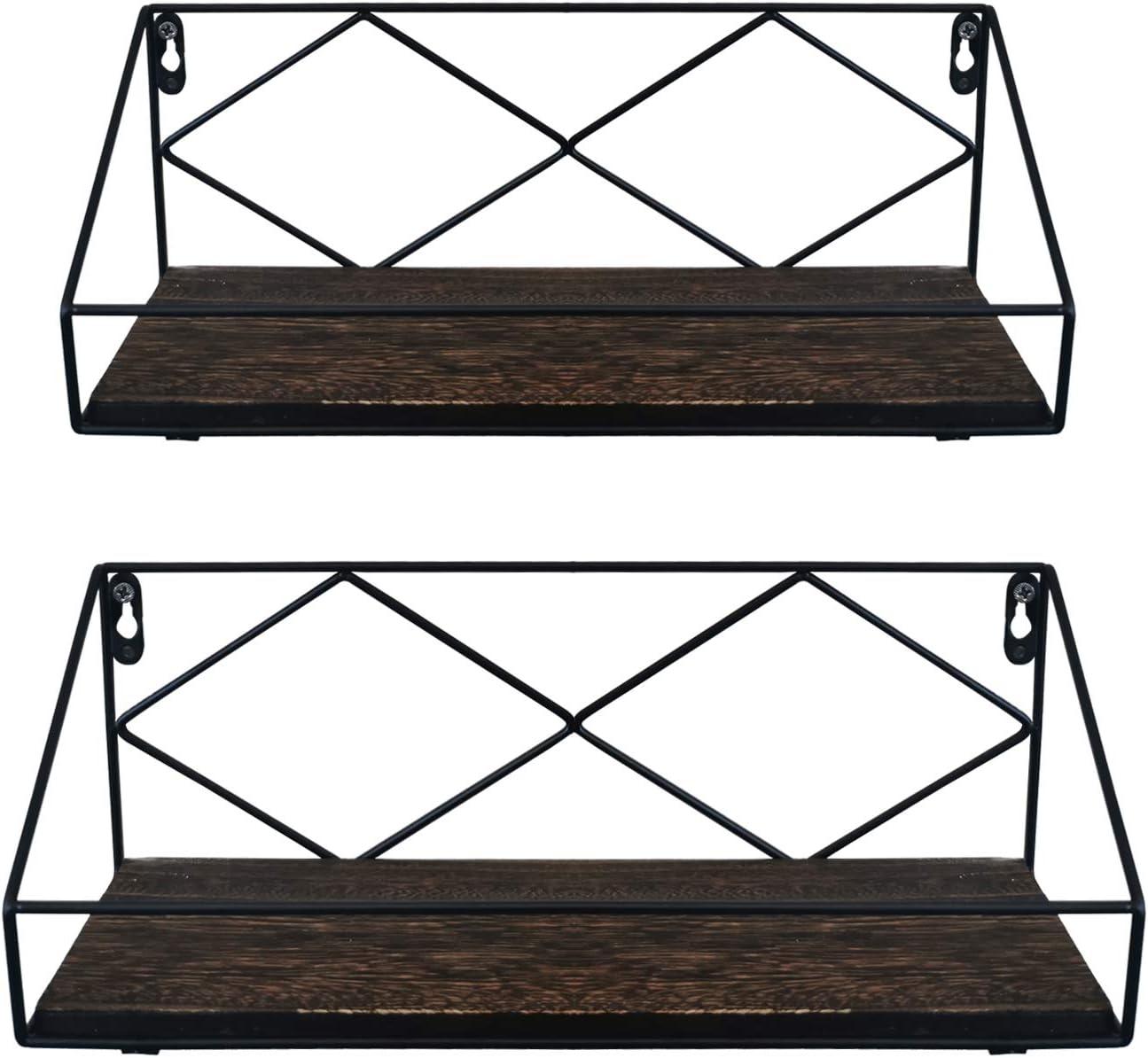 BESCRCL Floating Shelves Wall Mounted Rustic Wood, Storage Shelves Set of 2 for Kitchen, Bathroom, Living Room, Bedroom