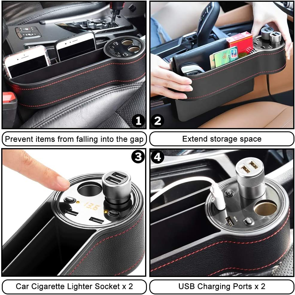 PU Leather Car Seat Gap Organizer with 2 Lighters 2 Fast Charging USB Port,Organize Your Odds and Ends for Easy Driving Mookis Car Seat Gap Filler