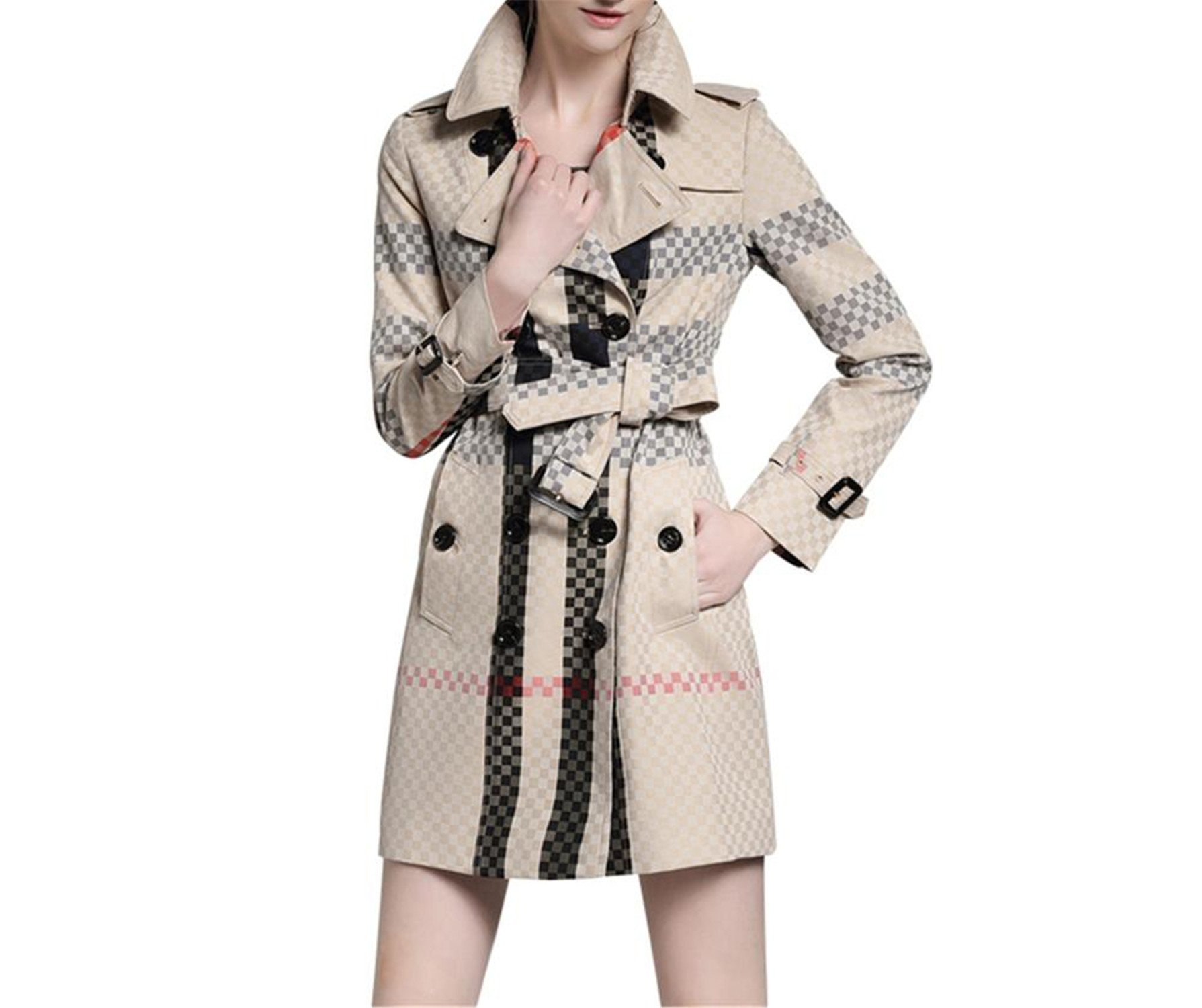 Suppliesed BURDULLY New British Style Patchwork Double Breasted Windbreaker Winter Trench England Women Trench Coat Casual Plaid Autumn Khaki S