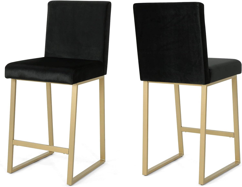Christopher Knight Home 306434 Lexi Modern Velvet Barstools, Black and Brass (Set of 2)