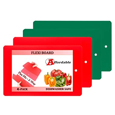 Flexi Board Flexible Plastic Cutting Board Mats With Storage Loop 4 Pack