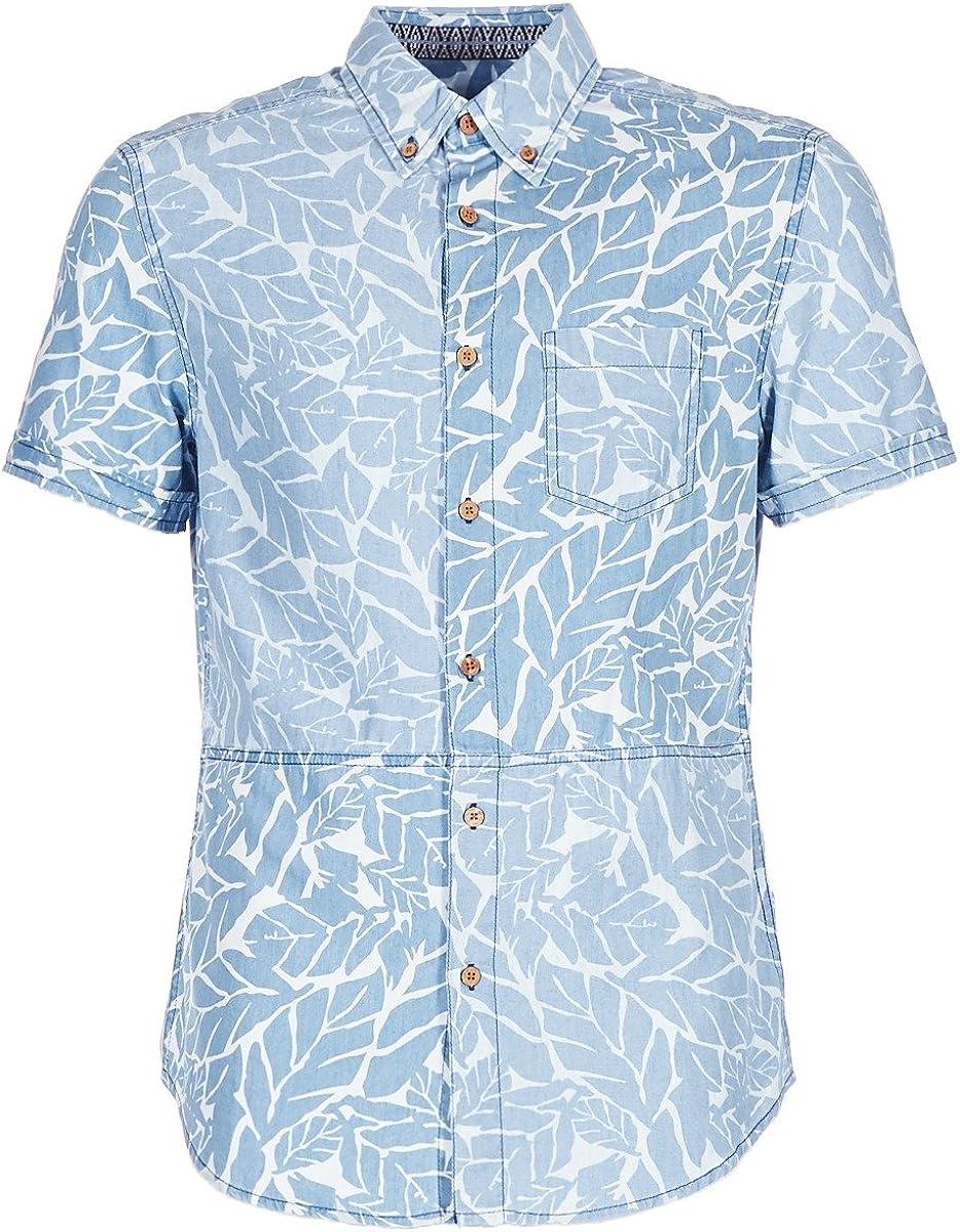 DESIGUAL COTEDE Camisas Hombres Azul - S - Camisas Manga Corta: Amazon.es: Zapatos y complementos