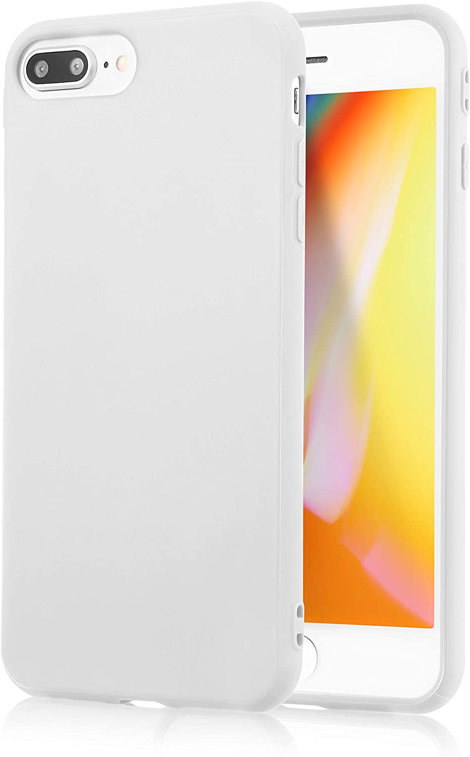 iPhone 7 Plus White Case/iPhone 8 Plus White Case, technext020 Shockproof Ultra Slim Fit Silicone TPU Soft Gel Rubber Cover Shock Resistance Protective Back Bumper for iPhone 7 Plus/iPhone 8 Plus