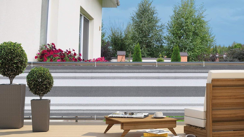AXT SHADE Blickdichte Balkon sichtschutz 75x300cm HDPE Gelbe und wei/ße Streifen mit Kabelbindern UV-Schutz Balkonabdeckung,Balkonverkleidung