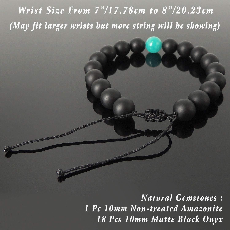 Healing Zen Gemstone Jewelry Mens Womens Handmade Braided Bracelet Protection Casual Wear with 10mm ite Matte Black Onyx Adjustable Drawstring