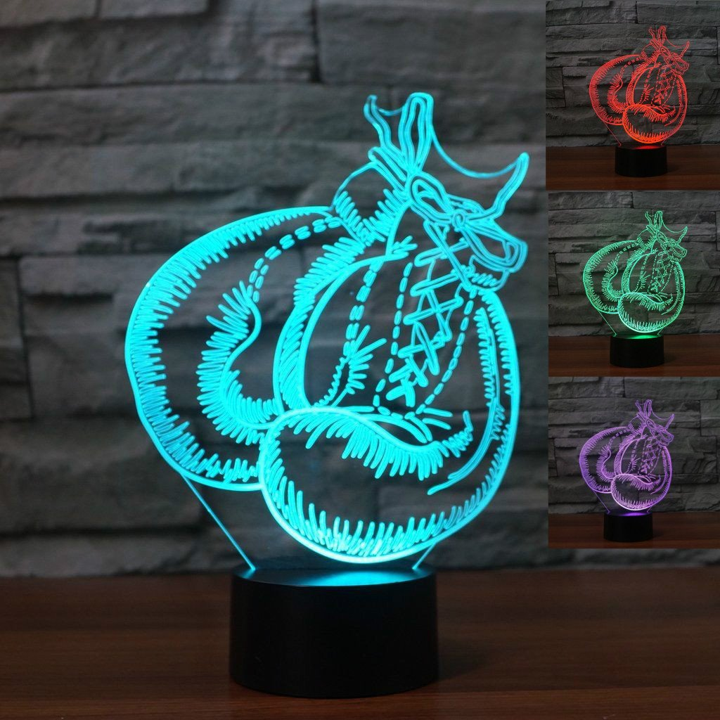 3D Boxing Gloves Night Light Table Desk Optical Illusion Lamps 7 Color Changing Lights LED Table Lamp Xmas Home Love Brithday Children Kids Decor Toy Gift