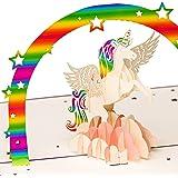 Geburtstagskarte Einhorn mit Regenbogen auf rosa Wolke, 3D Pop up, handgefertigt, Glückwunschkarte, Grußkarte