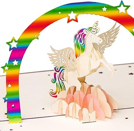 Biglietto Di Auguri Per Il Compleanno Con Unicorno Arcobaleno E