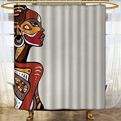 African Print Shower Curtain Profile Of Sexy Lady With Different Tattoos On Her Body And