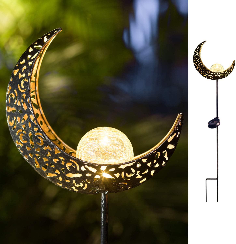 TAKE ME Moon Solar Lights Garden Outdoor,Waterproof Metal Decorative Stakes for Walkway,Yard,Lawn,Patio