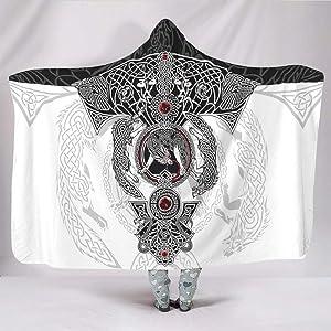 VVEDesign Vikings Tattoo Odins Ravens Muninn Crow Style Hooded Blanket Wearable Novelty Throw Blanket Microfiber Fleece Blanket Hooded Cloak Mens Women White 60x80 inch