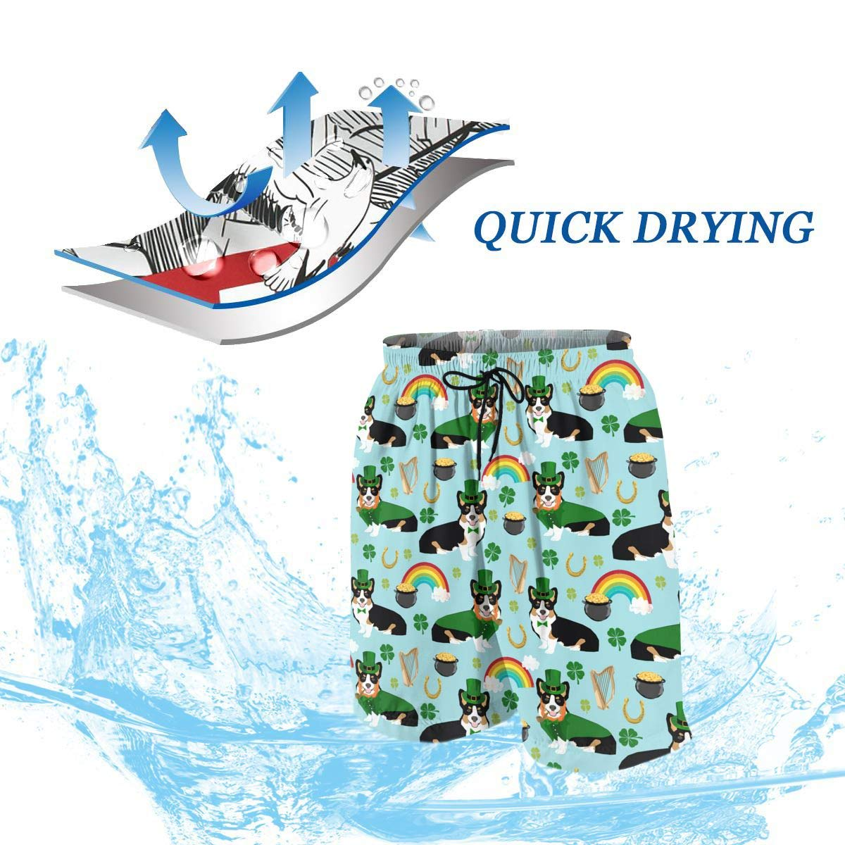 Corgi Dog St Patricks Day Leprechaun Rainbow Teen Swim Trunks Bathing Suit Shorts Board Beach