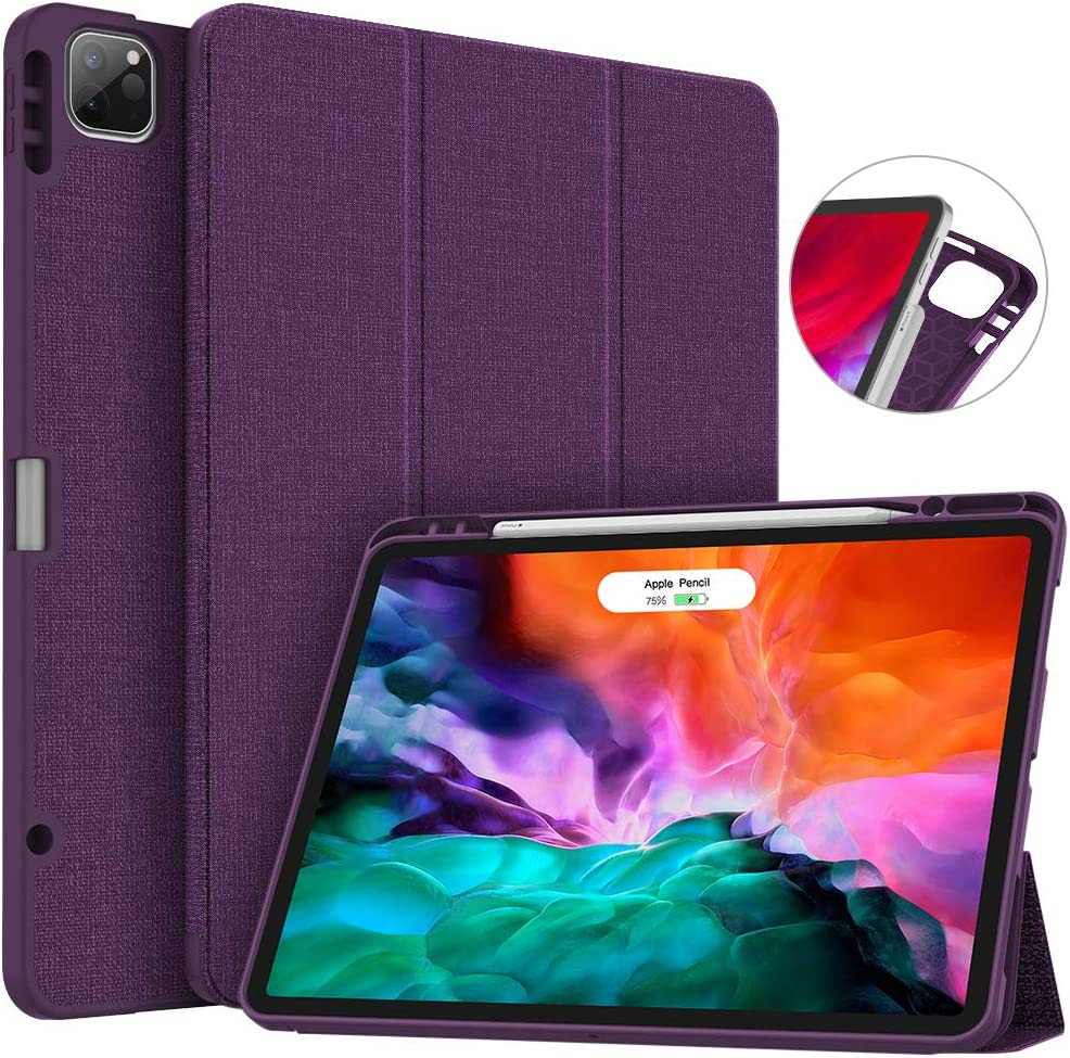 Soke New iPad Pro 12.9 Case 2020 & 2018 with Pencil Holder - [Full Body Protection + Apple Pencil Charging + Auto Wake/Sleep], Soft TPU Back Cover for 2020 iPad Pro 12.9(Purple)