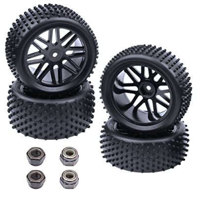 Hobbypark (4-Pack) 1/10 Scale Off Road Buggy Tires & Wheel Rims Set Front and Rear 12mm Hex Hubs with Foam Inserts for RC Hobby Car: Toys & Games [5Bkhe1004694]