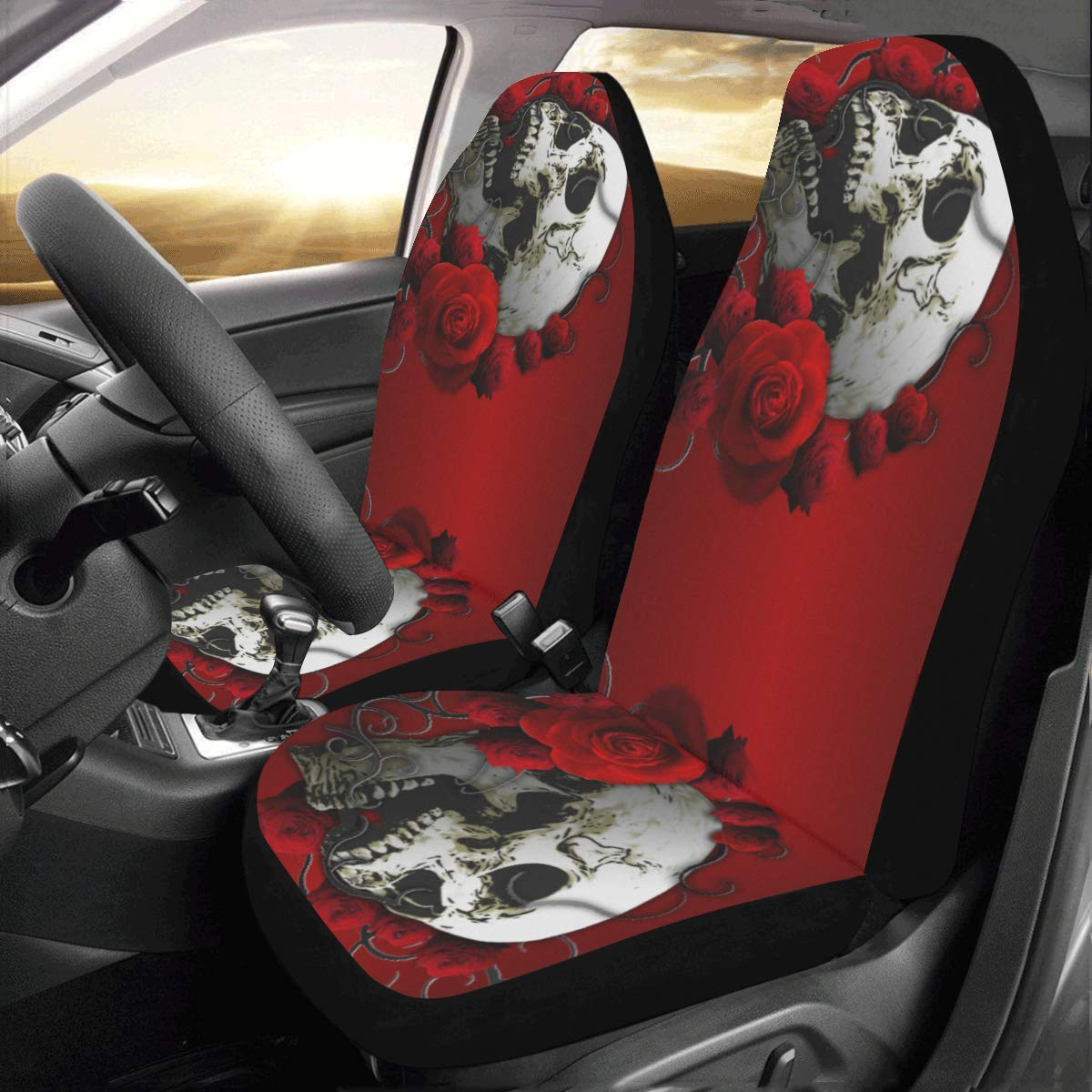 InterestPrint Universal Skull and Flowers Two Front Car Seat Covers Set -100% Breathable