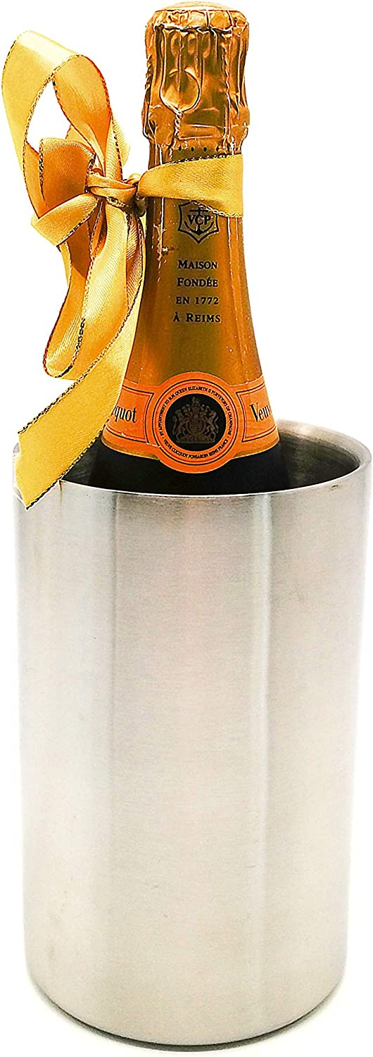 Stainless Steel Wine Cooler Bucket, Insulated Double Wall Design, White Wine Champagne Bottle Chiller, Brushed Surface, Great for Parties, Outdoor Events, Keeps Beverages Ice Chilled, 1.6L, Silver
