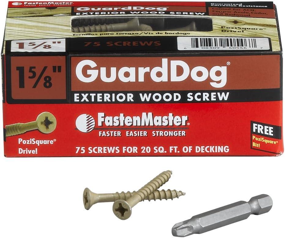 FastenMaster FMGD312-75 GuardDog Exterior Wood Screw Tan 75-Pack 3-1//2-Inch