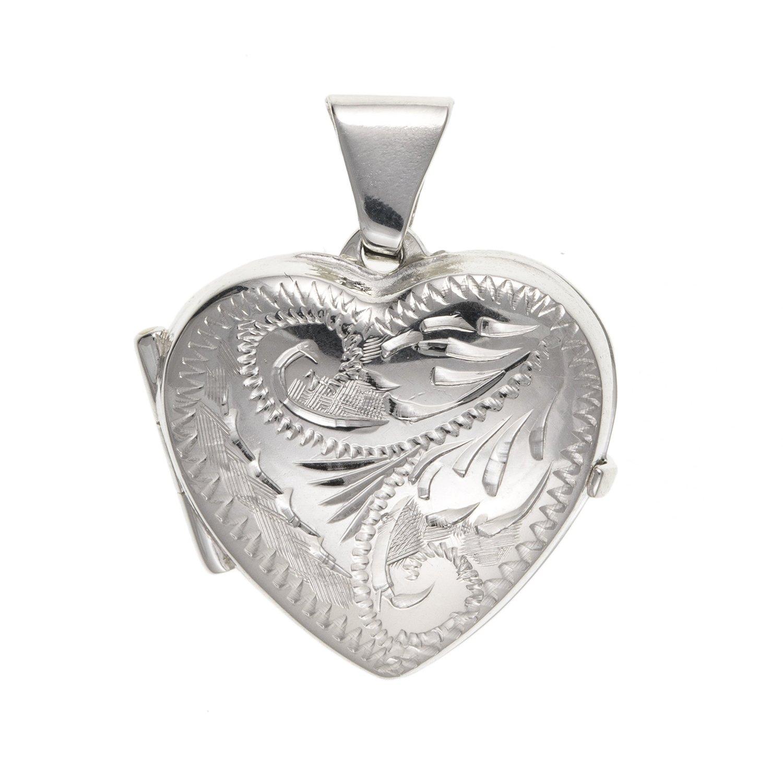 16mm de large victorien Foliate gravé Médaillon cœur–Argent Sterling 925–Livré dans une boîte cadeau gratuit ou sac cadeau M & M Jewellery BU0111ID-LL-LOCK