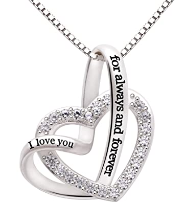 Amazon alov jewelry sterling silver i love you for always and alov jewelry sterling silver i love you for always and forever love heart cubic zirconia necklace aloadofball Choice Image