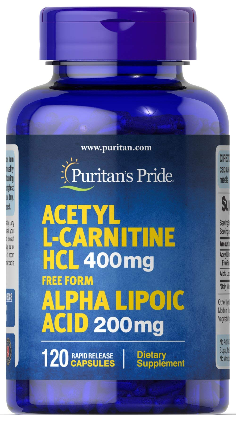 Puritans Pride Acetyl L-carnitine 400 Mg with Alpha Lipoic Acid, 200 Mg, 120 Count by Puritans Pride
