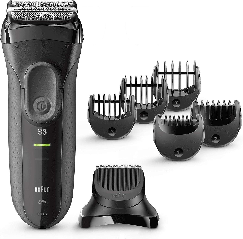 Braun Série 3 3000BT Shave N Style Tondeuse à barbe Utilisation à sec ou sous l'eau Gris (1 mm, 7 mm, Gris, Acier inoxydable, nickel-hydrure métallique (NiMH))