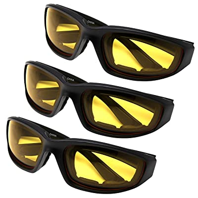 All Weather Protective Shatterproof Polycarbonate Motorcycle Riding Goggle Glasses 3 Pack Set Pouches NOT included (Night Ride Pack): Automotive