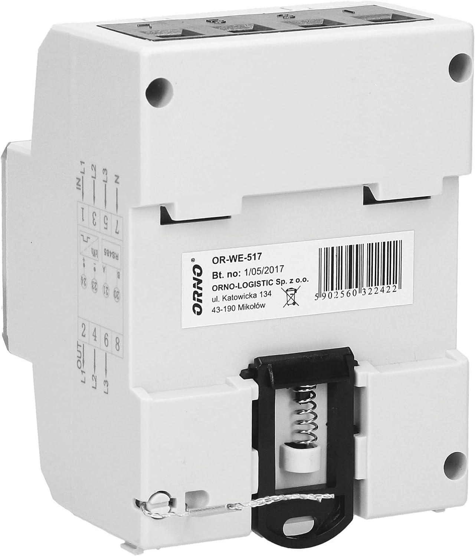 1000 imp//kWh 80A.3 x 230V//400V 50//60Hz ORNO WE-517 Compteur Electrique Rail DIN pour syst/èmes triphas/és avec certificat MID et RS845 0.25A