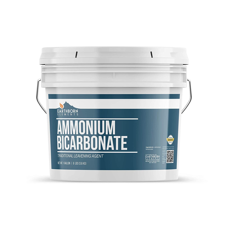Ammonium Bicarbonate Powder (1 Gallon) Food Grade Baker's Ammonia, Flat Baked Goods, Crispy Cookies & Crackers, Leavening Agent, Resealable Bucket