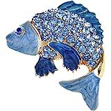 Alilang Koi Fish Pin Brooch Golden Tone Enamel With Aqua Blue, Green Or Purple Crystal Rhinestones