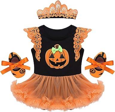 IEFIEL Vestido Calabaza para Bebe Niña Disfraz Halloween Cosplay ...