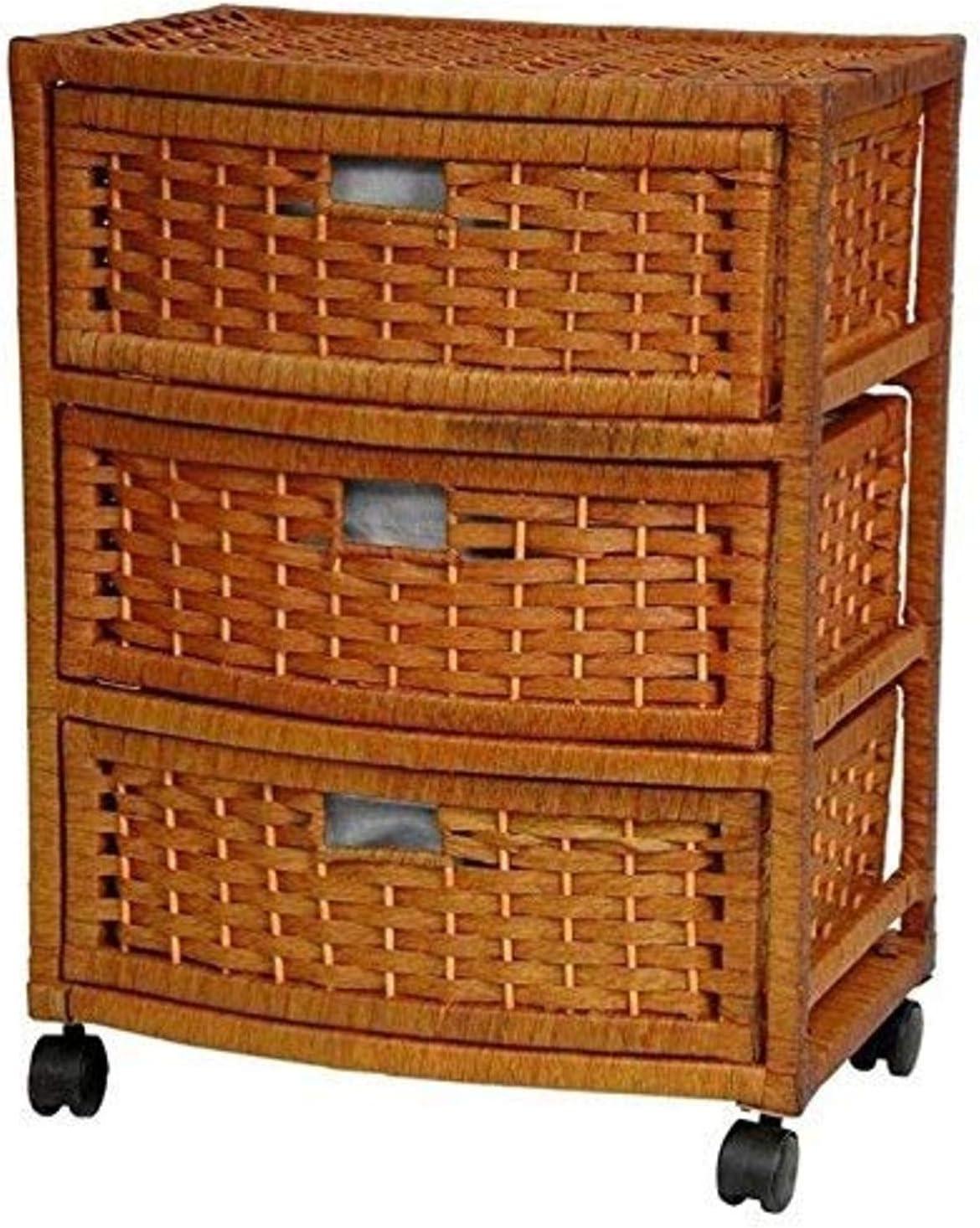 "Oriental Furniture 23"" Natural Fiber Chest of Drawers - Honey"