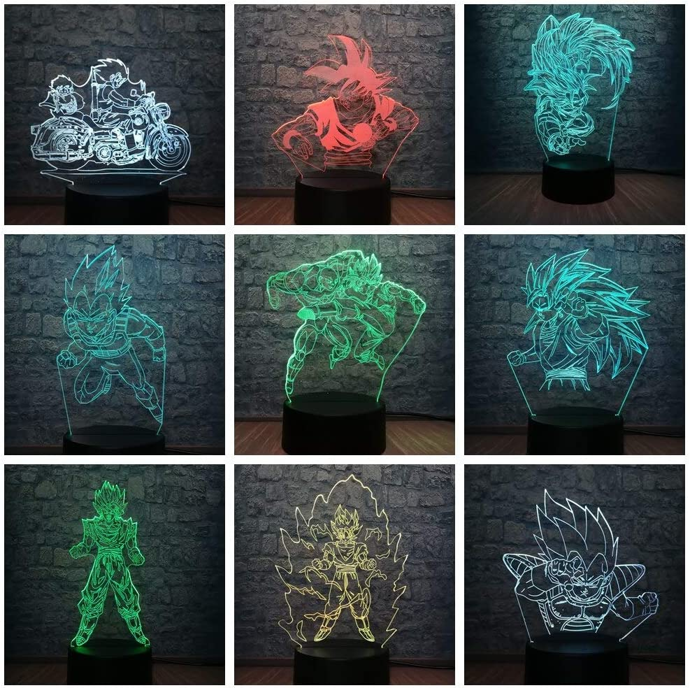 olwonow Dragon Ball Superhero Figura 3D LED Lámpara Iluminación RGB 7 Cambio de Color Mesa Luz Nocturna Decoración Ventiladores Cool Boys T
