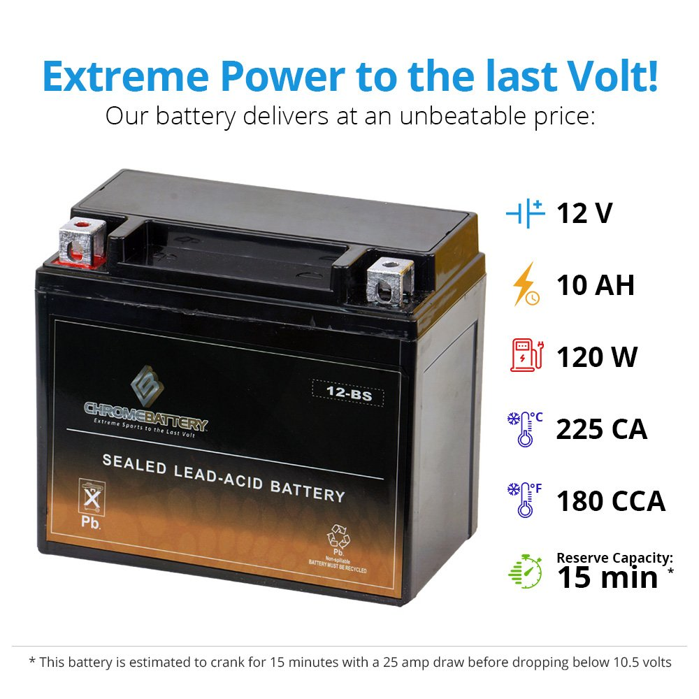 Chrome Battery YTX12-BS High Performance Maintenance Free Sealed AGM Motorcycle Battery by Chrome Battery (Image #3)