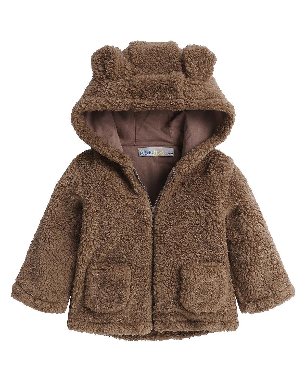 Kidsform Unisex Infant Winter Hoodie Long Sleeve Zip Pocket Fluffy Fleece Jacket Coat Outerwear KIDSFORMyonnciiuk1573