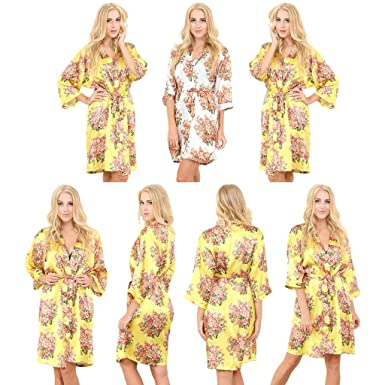 Mr & Mrs Right Set Of 7 Women\'s Satin Short Floral Wedding Robes ...