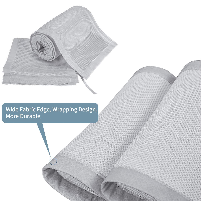 Grey Baby Crib Bumper,Classic Breathable Crib Liner,2 Pieces//Set