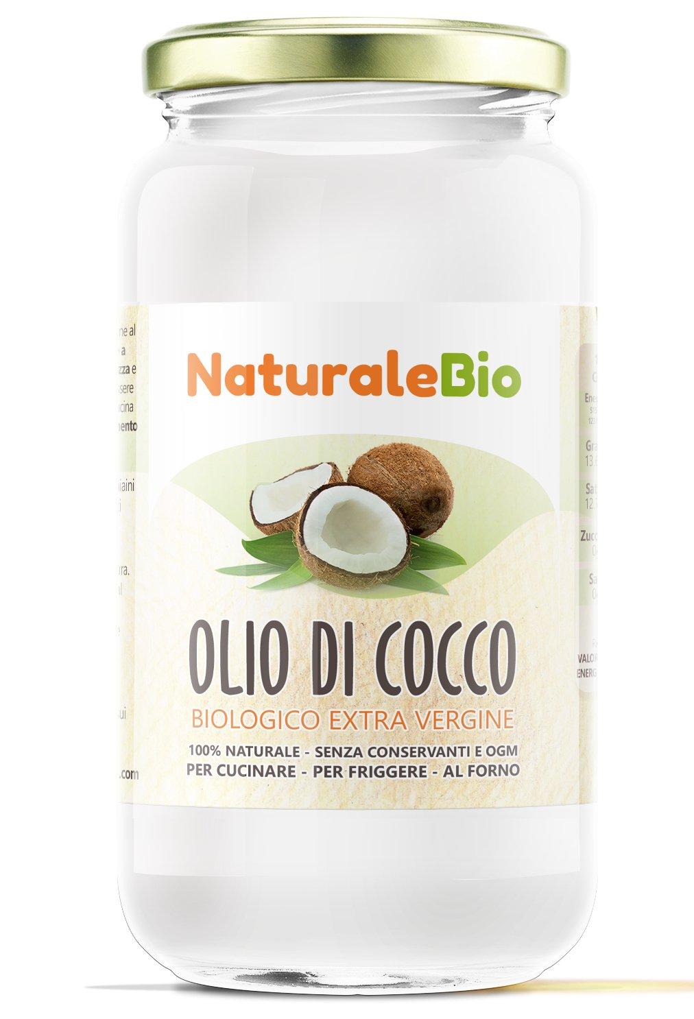 Olio di Cocco Biologico Extra Vergine 1000ml | Crudo e Spremuto a Freddo | Organico e Puro al 100% | Ideale per Capelli, per il Corpo e ad Uso Alimentare | Olio di Cocco Bio Nativo e non Raffinato 1L