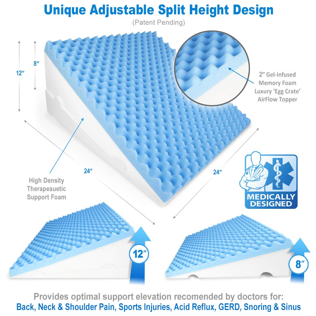 LUXELIFT Support Therapy Bed Wedge Pillow | Multipurpose adjustable 12 inch or 8 inch height | Stay-Cool Gel-Infused Memory Foam, Back & Leg Pillow | Back Pain, Injury, Reflux, GERD, Sinus & Snoring by Zenesse Health (Image #2)