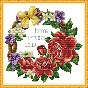 Cross Stitch Counted Kits Stamped Kit Cross-Stitching Pattern for Home Decor, 11CT Pre-Printed Fabric Embroidery Crafts Needlepoint Kit (Printed Kits,Sweet Home (Ring))