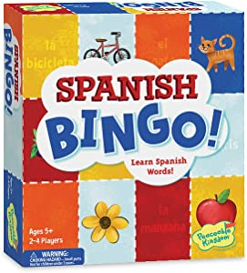 Peaceable Kingdom Spanish Bingo - Language-Learning Games for Kids - Boys & Girls Ages 5 & up Learn Basic Spanish Vocabulary as They Play Bingo - Includes a Pronunciation Guide