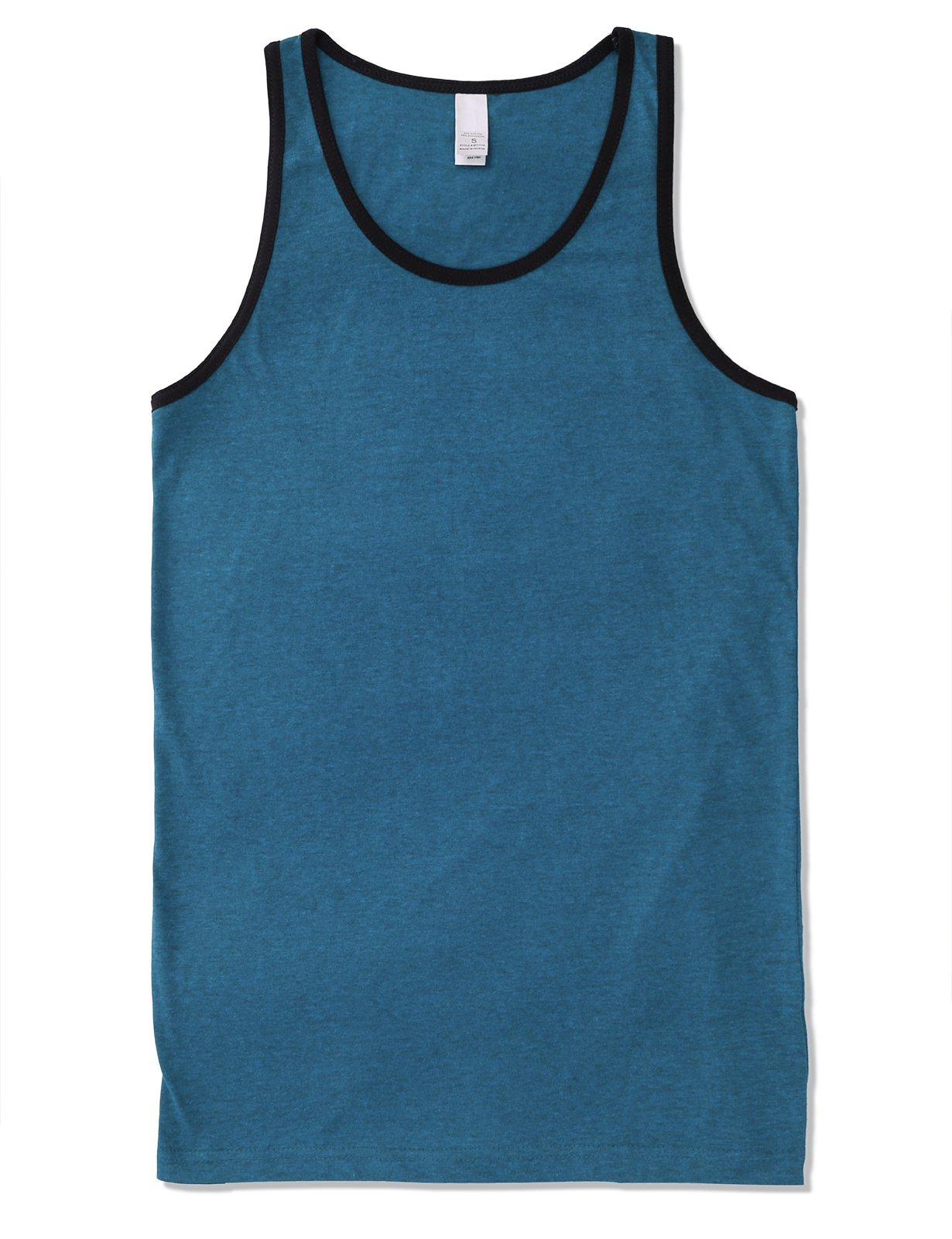 JD Apparel Mens Men's Basic Athletic Jersey Tank Top Contrast Binding M Turquoise Black