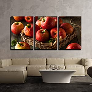 "wall26 - 3 Piece Canvas Wall Art - Raw Red Fuji Apples in a Basket - Modern Home Decor Stretched and Framed Ready to Hang - 16""x24""x3 Panels"