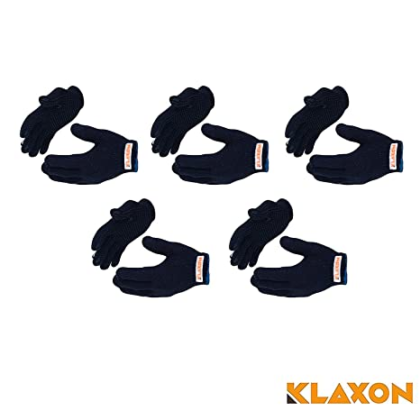 Klaxon Cotton Safety Hand Gloves (Navy blue, Set of 5 (10 Peices))