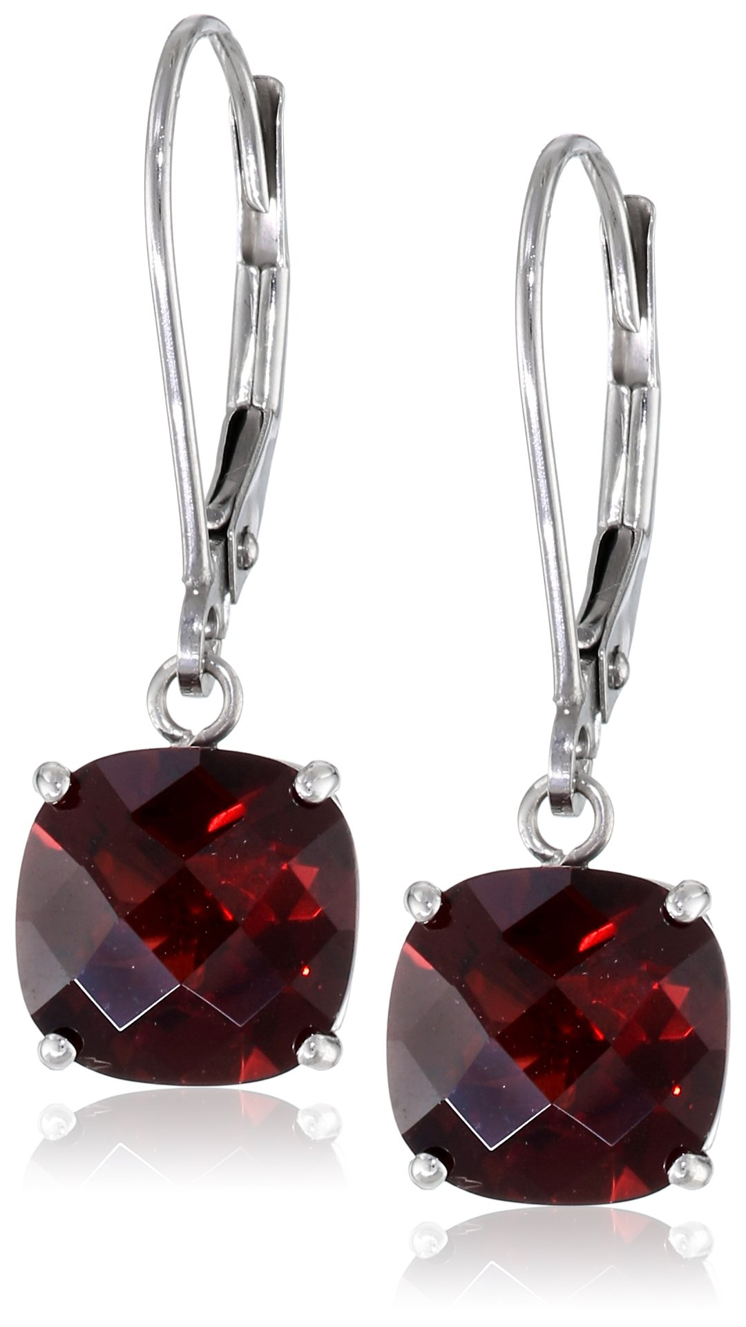 10k White Gold Cushion-Cut Checkerboard Garnet Leverback Earrings (8mm) by Amazon Collection