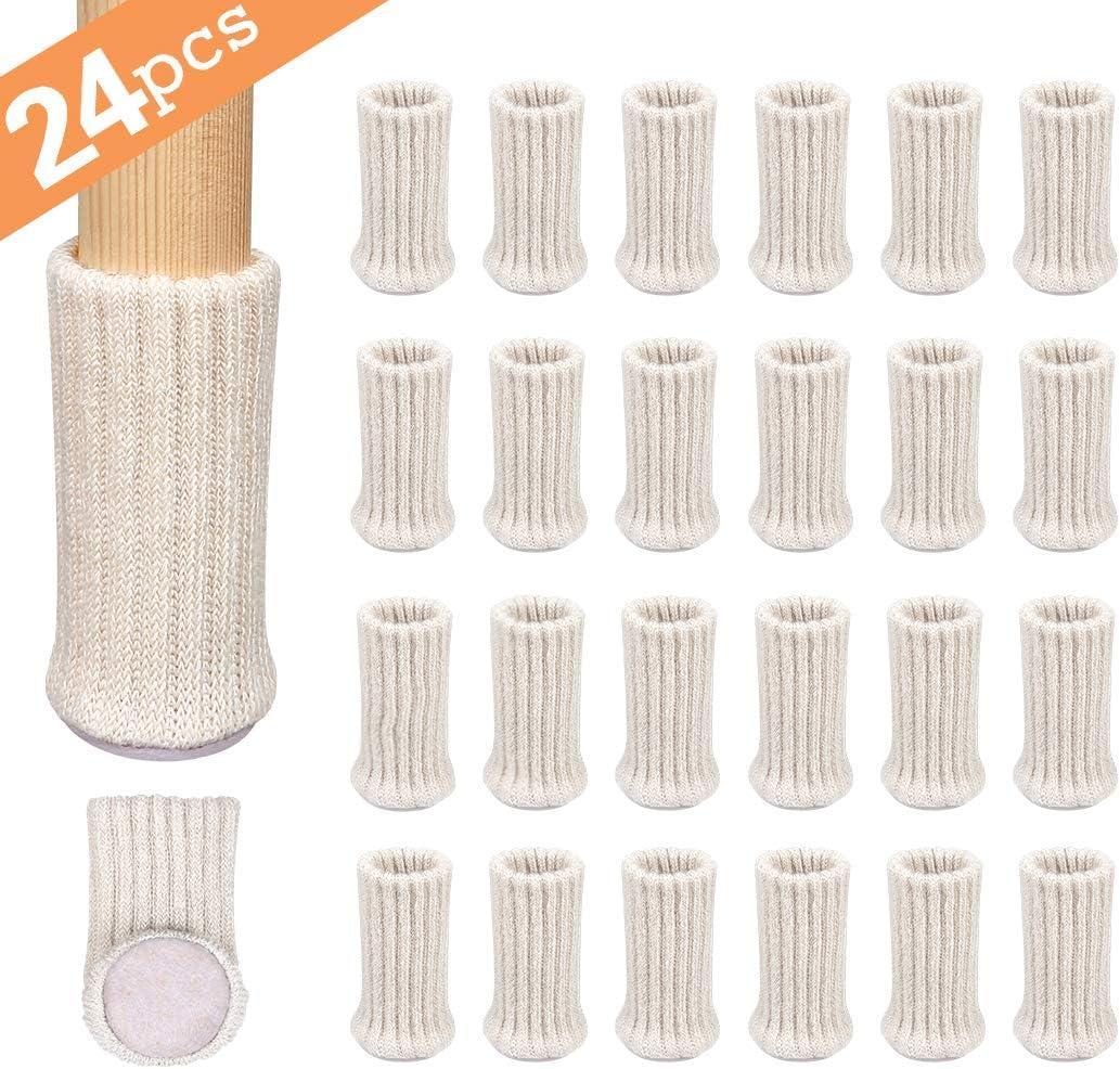 Ezprotekt 24PCS Chair Leg Socks High Elastic Furniture Socks, Furniture Pads Chair Leg Socks Covers Furniture Caps Set, Fit Furniture Feet Girth from 3