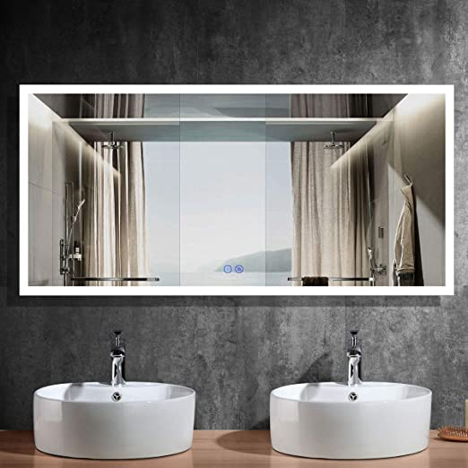Amazon Com Dimmable 84x40 In Led Bathroom Mirror Antifog Wall Mounted Lighted Vanity Makeup Mirror With Touch Button Vertical Horizontal Mount Cri 90 Ip 44 Nt01 8440 Kitchen Dining
