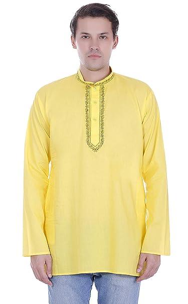 56b8b12c6 SKAVIJ Mens Casual Dress Kurta Button Down Long Sleeve Shirt Cotton Dress  Yellow
