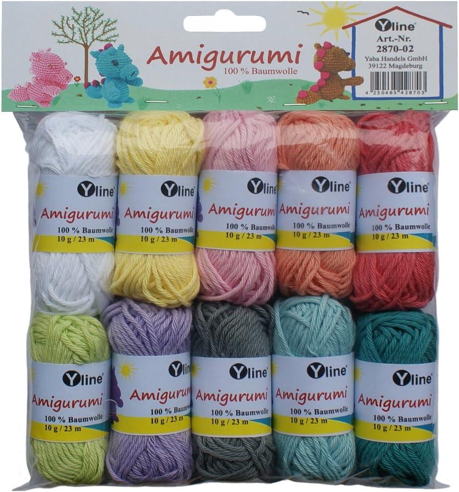 Surtido Amigurumi lana 10 knäuel A. 10 g, 100% algodón, hilo, punto lana, ganchillo, 2870 – 02: Amazon.es: Hogar
