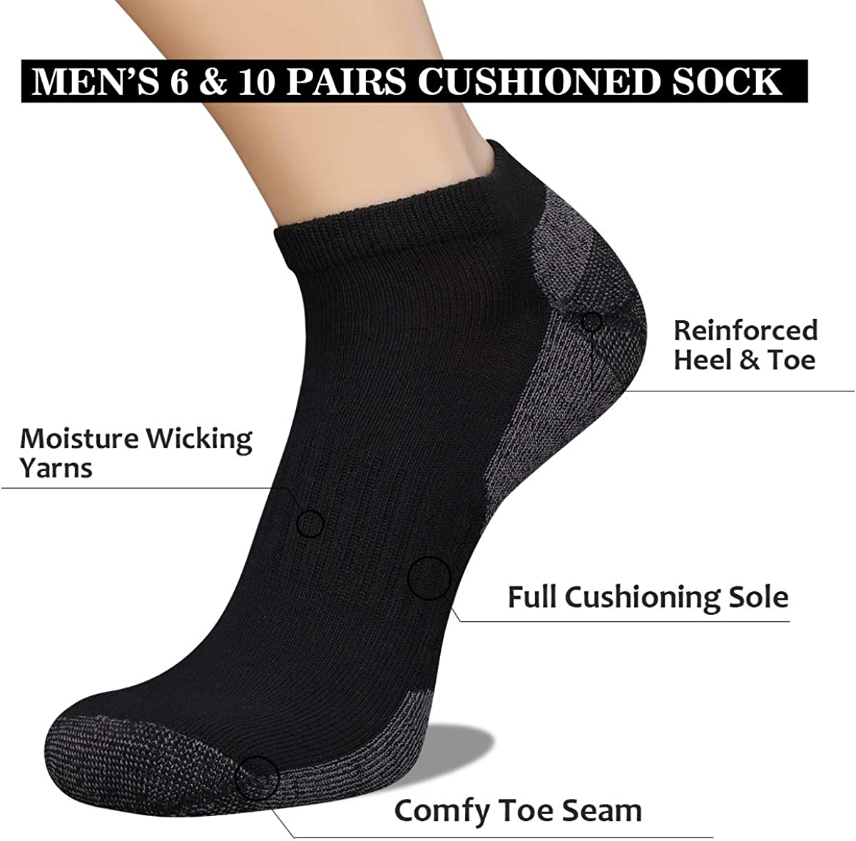12 Pack TopSTEP Mens Patterned Low Cut//No Show Athletic Performance Socks with Cushion Sole Sock Size 10-13